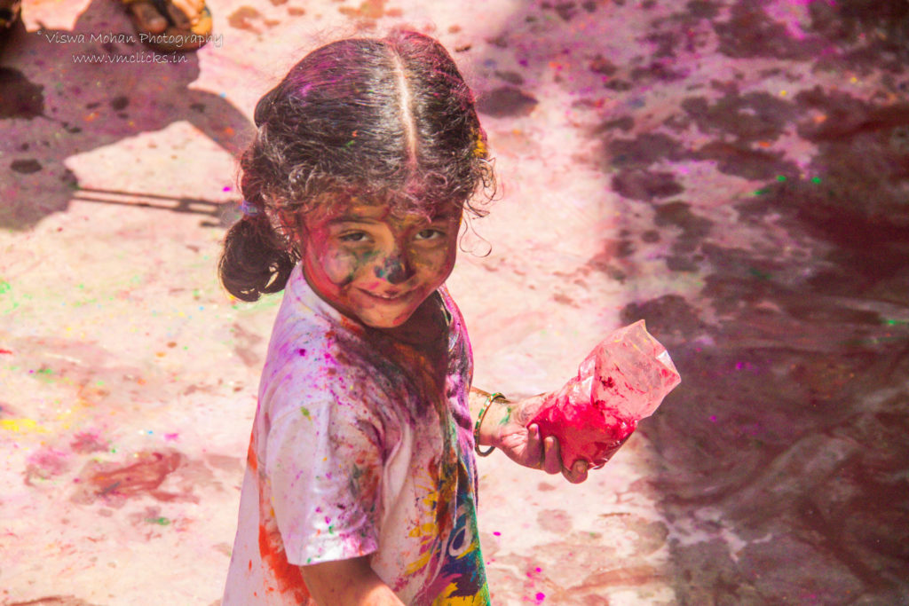 Cute Kid with Holi Colours