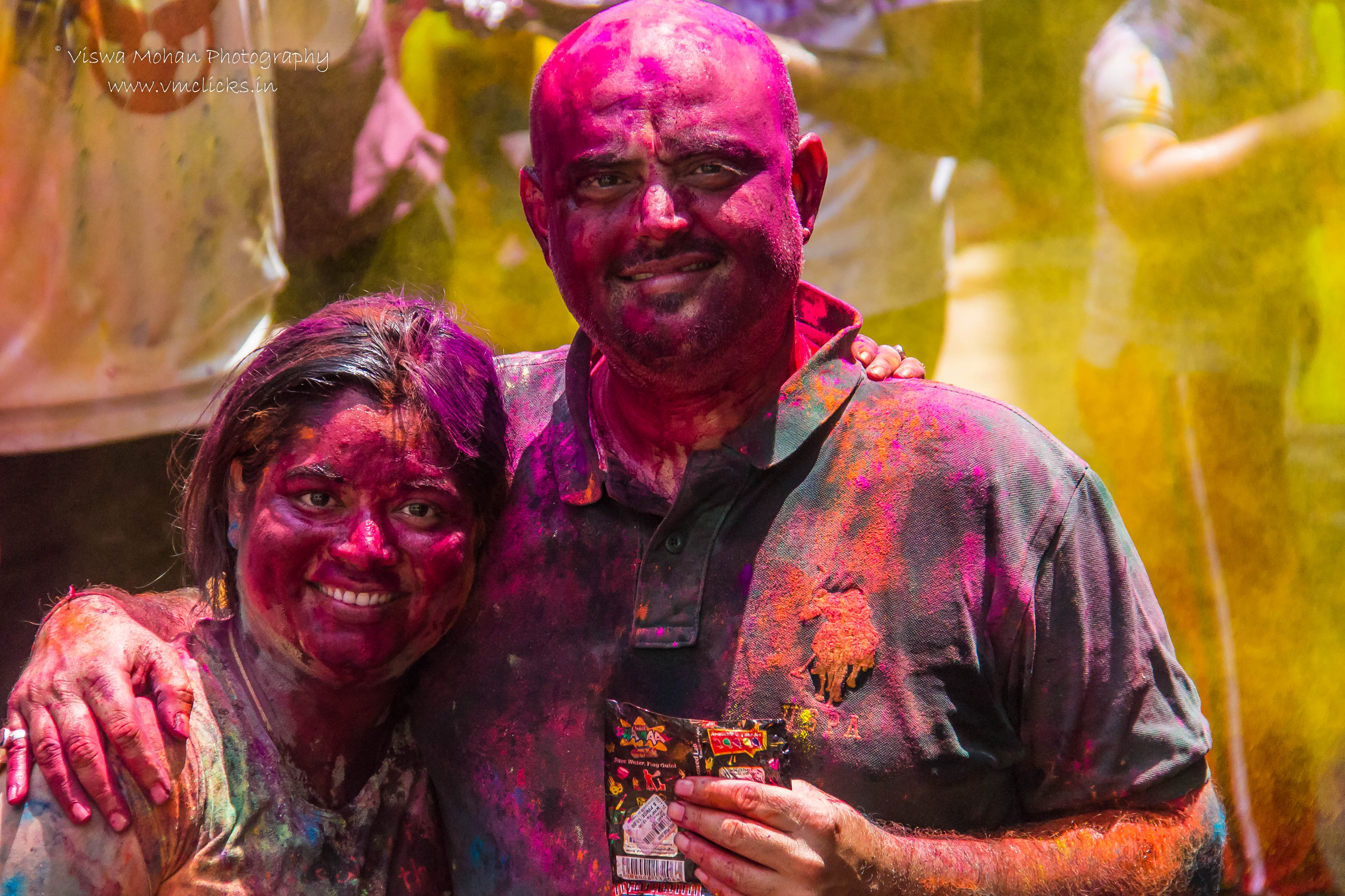 Indian Couple during Holi Celebrations 2019
